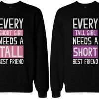 Short and Tall Girls Matching Sweatshirts for Best Friends