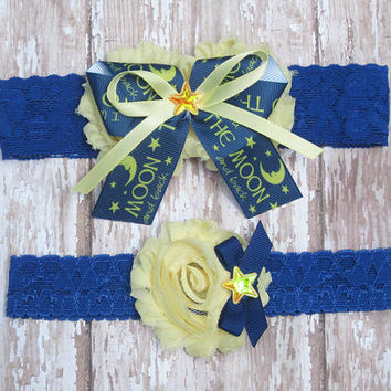 I Love You to the Moon and Back Wedding Garter Set | Blue and Yellow, Star and Moon Wedding Garters | Bridal Garter and Toss Garter