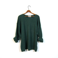vintage slouchy shirt. boxy 90s basic oversized textured green top. plain long sleeve cotton knit shirt. long sleeve shirt. womens 2XL XXL