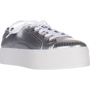 Betsey Johnson Spur Platform Fashion Sneakers, Silver, 8 US