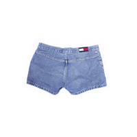 TOMMY HILFIGER jean shorts / light wash denim / logo / size 7