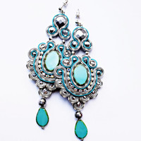 Soutache dangle earrings. Bohemian turquoise jewelry. Soutache handmade earrings.
