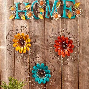 Jewel Embellished Metal Wall Art Indoor Outdoor Sculptures Gloss Enamel Finish