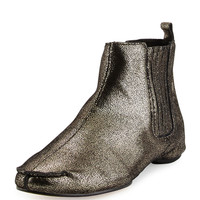 Belle Metallic Flat Ankle Boot, Black/Pewter - Donald J Pliner