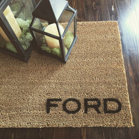 """Welcome Mat / Doormat personalized with Last Name - 18x30"""" natural coir"""