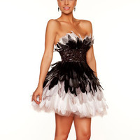 Black & White Ombre Feather Strapless Empire Waist Homecoming Dress - Unique Vintage - Cocktail, Pinup, Holiday & Prom Dresses.