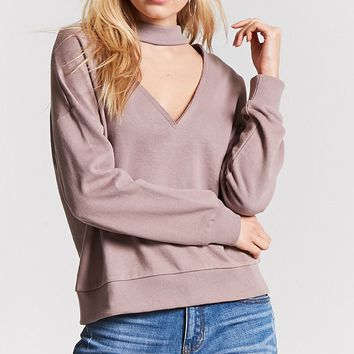 Oversized V-Cutout Mock Neck Pullover