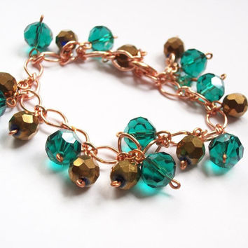 Beaded teal blue and bronze crystal copper bracelet. Adjustable bracelet with faceted crystals. Made in USA. Shop local TN,handmade jewelry