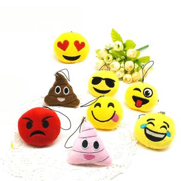 Emoji cartoon face Anime Keychains Keyrings Key chains Stuffed Plush