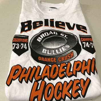 "BRAND NEW RETRO PHILADELPHIA FLYERS ""BELIEVE"" BROAD ST. BULLIES YOUTH TEE SHIRT"