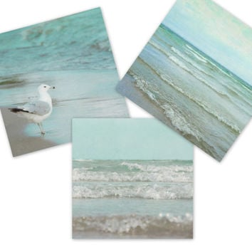 Mint Green Home Decor, 8x8 Beach Three Print Set, Seafoam Ocean  Photography, Coastal