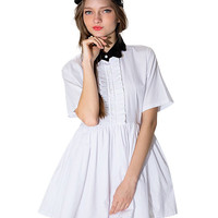 Short Sleeve High Waist A-line Pleated Mini Dress