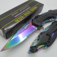 Tac-force High Carbon Assisted Opening Black with Rainbow Blade Bottle Opener Glass Breaker Hunting Camping Outdoor Tactical Knife!!
