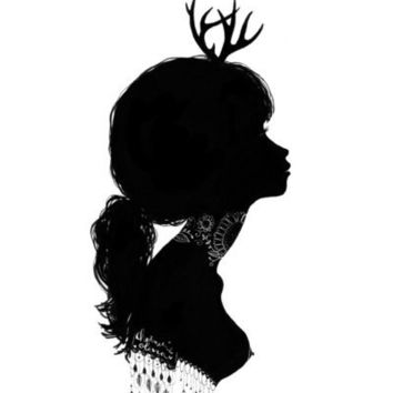 Antlers Silhouette Art Print by Charmaine Olivia | Society6