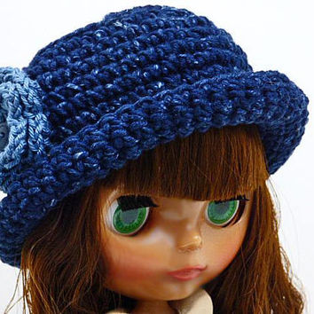 Blythe Doll Hat, Blue Brim Hat, For Dolls, Doll Fashion, Hats for Dolls, Crochet Hat, Cute Doll Cloths, Accessories for Dolls, Miniature Hat