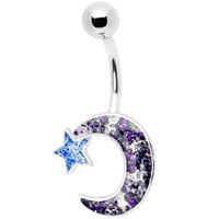 Glitzy Glitter Crescent Moon Belly Ring | Body Candy Body Jewelry