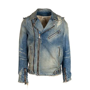 Balmain Mens Blue Distressed Denim Biker Jacket