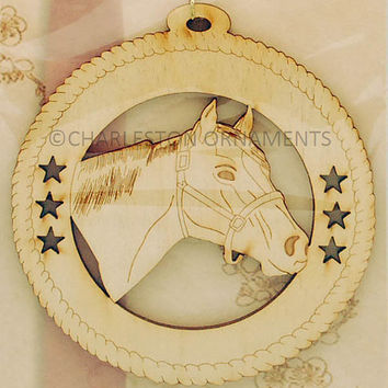 Custom Wooden HORSE Ornament Engraved and Personalized FREE