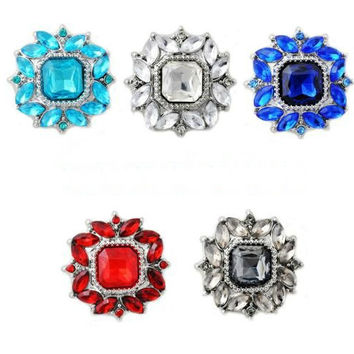 Rhinestone Super Bling 20mm Snap Charm for Snap Button Bracelets (5 Colors)
