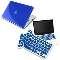 Clear Dark Blue Hard Shell Case Compatible With 13-Inch Macbook Pro, W/ Free Dark Blue Keyboard Skin