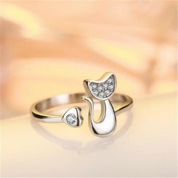 Full Zircon Filled Cute Cat Silver Ring for Women Silver Plated Wedding Bands Party Rings for Lady resizable R017