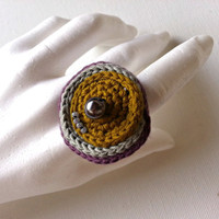 Crochet Cocktail Ring, Oversize Ring, Textile Ring, cotton ring,eyes ring,abstract ring, yellow, grey, purple