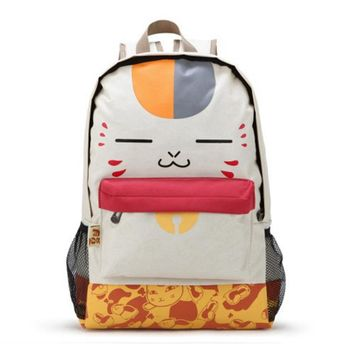 2017 natsume yuujinchou Cat Face anime Backpacks for Women japanese Printing Canvas Backpack for Teenage Girls L806