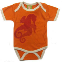 POS Organic Hip Unisex Baby Seahorses Orange Summer Bodysuit- Polkadot Patch Boutique
