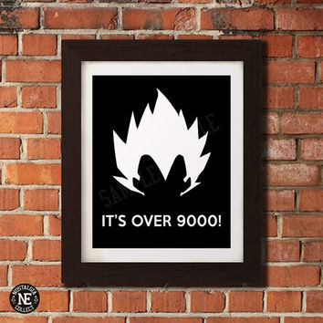 It's Over 9000! - Motivational Poster - Vegeta Stencil Wall Art - Sizes - 5X7 - 8X10 - 16X20 Inches