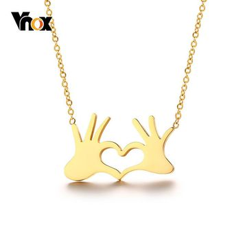 Vnox Gold Color Heart Love Gesture Pendant For Women Choker Stainless Steel Hand Necklace  Temperament Lady Jewelry Adjustable