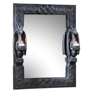 Design Toscano Dragons Thorne Twin Sentinel Dragons Wall Mirror - 18.5W x 24H in. | Hayneedle