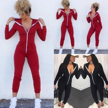 Long Sleeve Hooded Jumpsuits