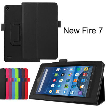 """Fire 7 Case KAMII Slim Lightweight Premium PU Leather Protective Folding Folio Case Cover for Amazon Kindle Fire 7 inch 7"""" Tablet (Only Fit Amazon Fire 7 Fifth Generation 2015 Release) (Black2) Black2"""
