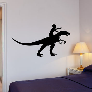 Wall Decal Boy Riding Dinosaur Dino Animal Interior Decor z3995
