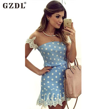 Fashion 2016 Summer Dresses Short Sleeve Patchwork Lace Mesh Sheer Polka Dot Party Club Wear Ladies Women Sexy Mini Dress CL2526
