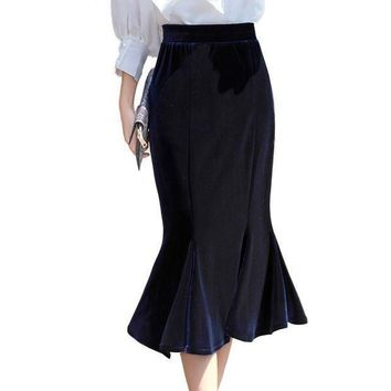 2017 Autumn Winter Women Gold Velvet Mermaid Skirt Blue Velour Elastic Waist England Casual Midi Long Ruffle Skirt 2276ly