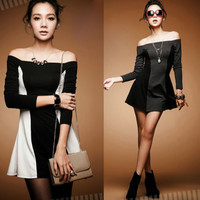 Korean Style Color Blocking Off Shoulder Womens Fitted Mini Dress Tops Stretch