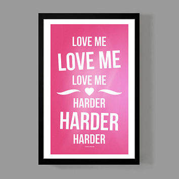 Ariana Grande Custom Poster - Love Me Harder Lyrics - Colorful, Quirky, & Inspirational home decor