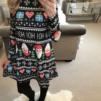 Long Sleeve Christmas Santa Printed Dress