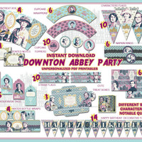Downton Abbey Party decorations, Party printables, party supplies, birthday party, vintage party, quotes, labels,digital, paper PDF