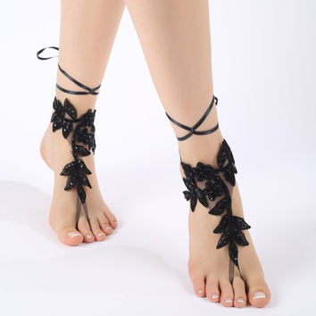 Free ship Black or ivory  Barefoot Sandals, french lace, shoes, Gothic, Wedding, Victorian Lace, Sexy, barefoot sandals