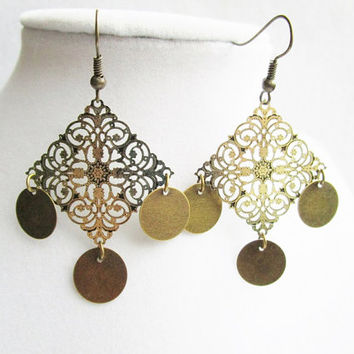 Floral Bronze Filigree Diamond Pendants & Dangling Bronze Disc Earrings, Boho Chic Jewelry, Light Weight Earrings