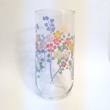 Set of 6 Mid-Century Pastel Floral Drinking Glasses