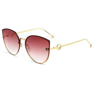 FENDI Trending Women Stylish Cute F Letter Summer Sun Shades Eyeglasses Glasses Sunglasses 3# I13798-1