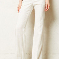NWT ANTHROPOLOGIE ELEVENSES LINEN BRIGHTON WIDE-LEGS IVORY TROUSER PANTS 8