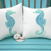 "Little Seahorses pair of indoor outdoor pillows 12""x12"" set of two coastal beach children's ocean nautical marine aquarium SCUBA reef"