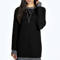 Lara Soft Laguna Knit Contrast Rib Jumper Dress