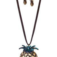 Vintage Rub Gold Pineapple Necklace Earrings SET