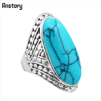 Exotic Crack Dot Oval Stone Rings Vintage Look Antique Silver Plated Cocktail Fashion Jewelry TR363