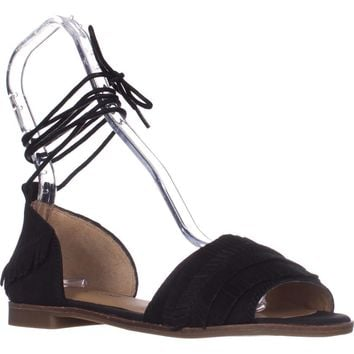 Lucky Gelso Tie Up Sandals, Black, 6 US
